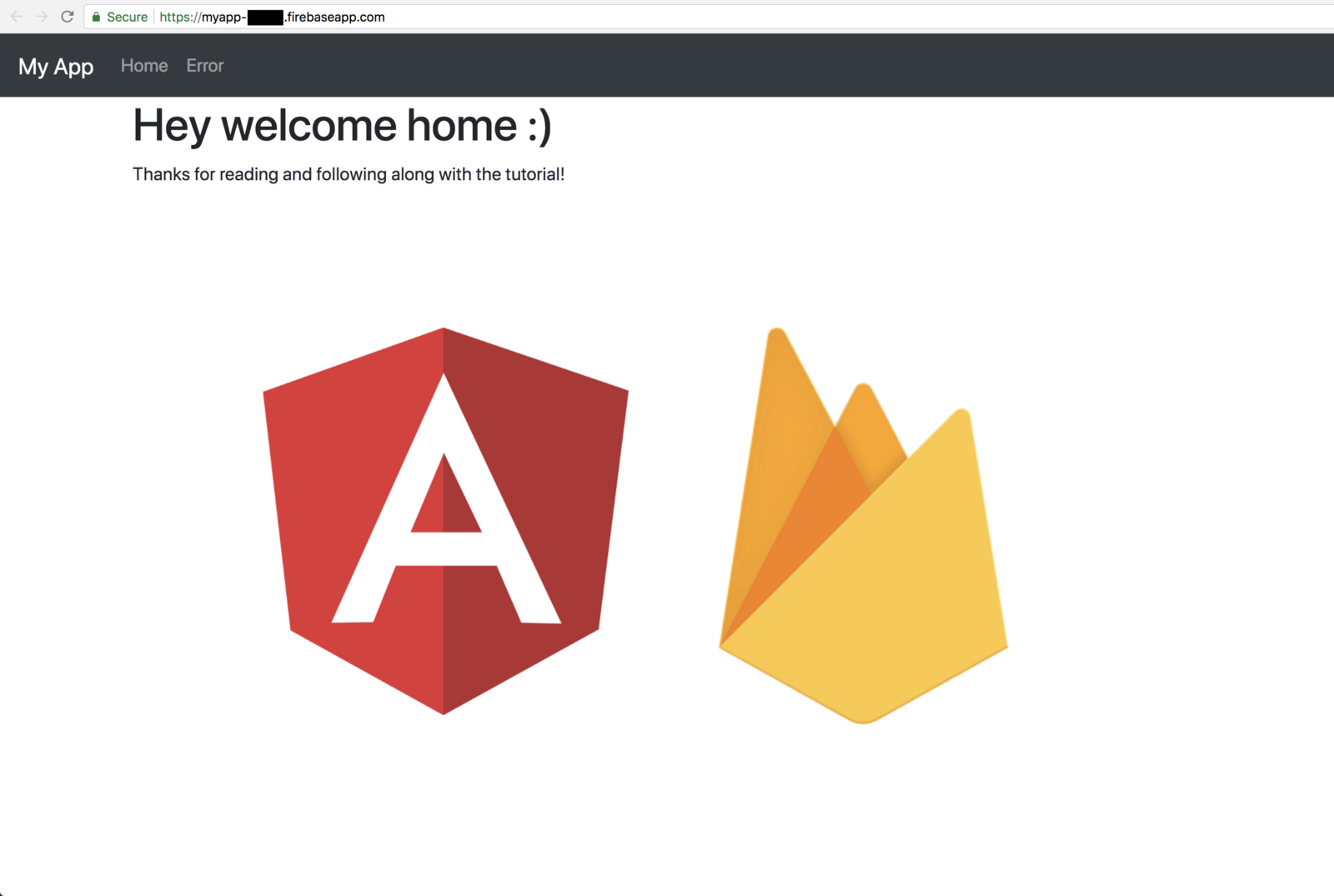Firebase project welcome screen